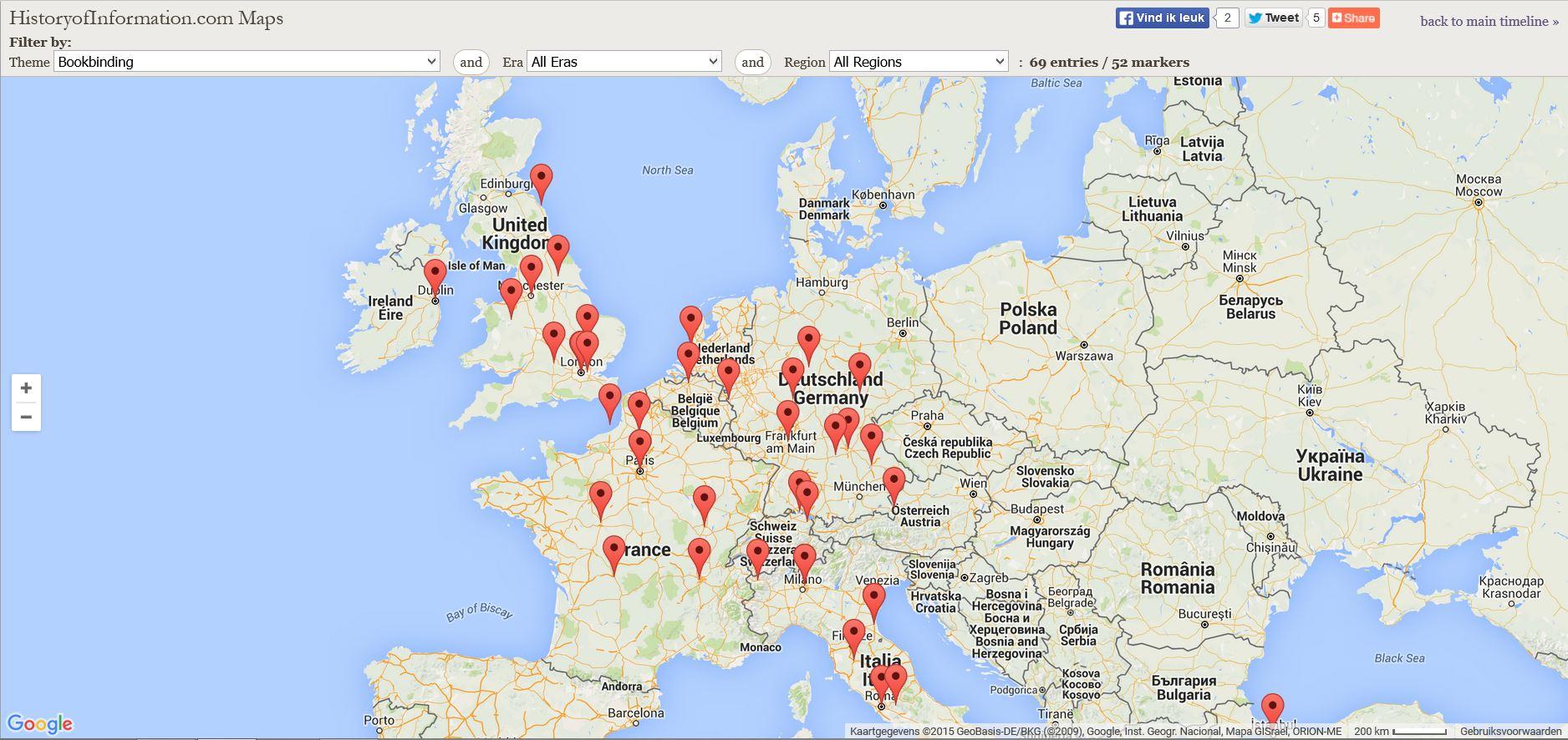 geschiedenis boekbinden kaart