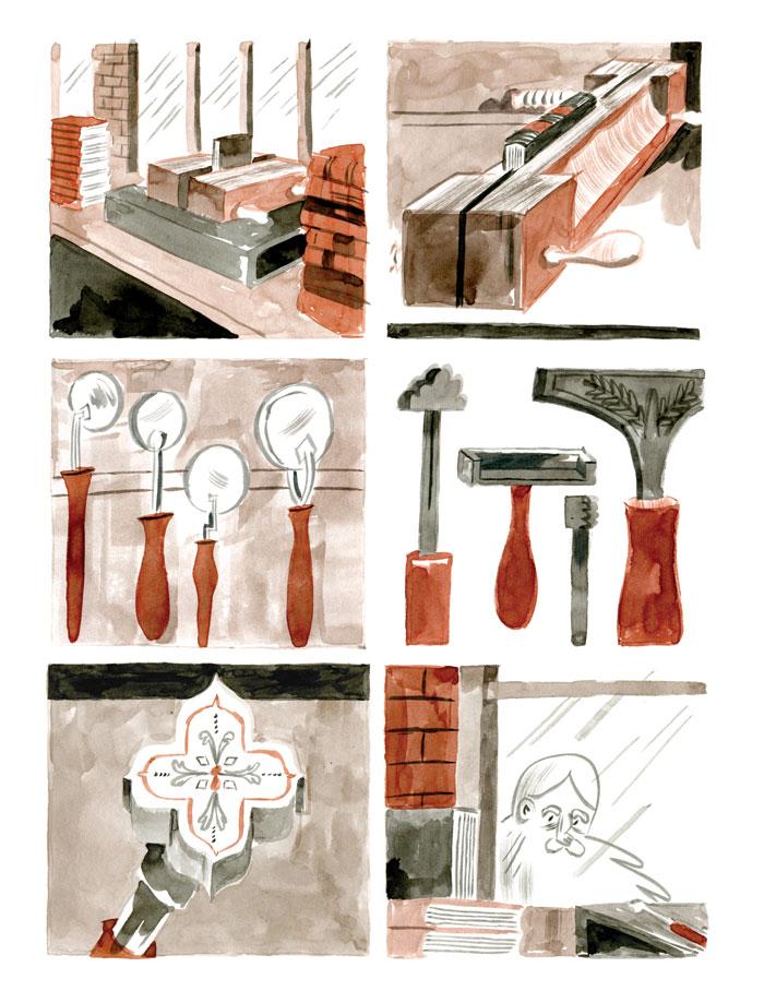 Tekeningen van boekbinderswerktuigen