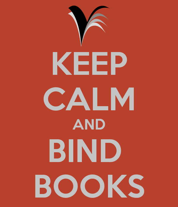 poster met tekst keep calm and bind books