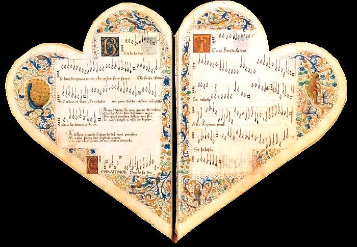 liedboek Jean de Montchenu open - dubbele hartvorm